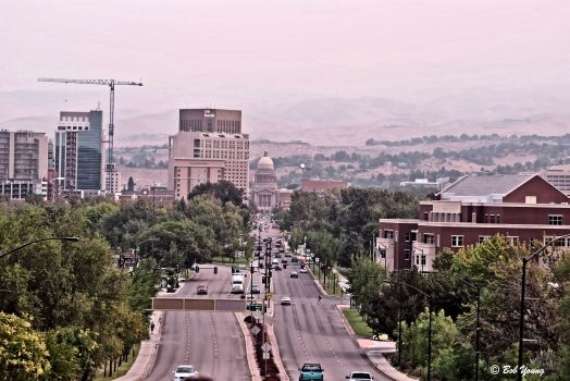 Boise this morning. The surrealistic glow of red and orange is from the fires. No, that is not fog.  It is smoke.