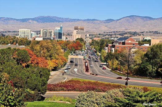 Fall colors from the train station looking at downtown Boise.